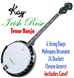 Kay KBJ40 W/C Tenor 4 String Irish Rose Banjo with Hardshell Wood Case