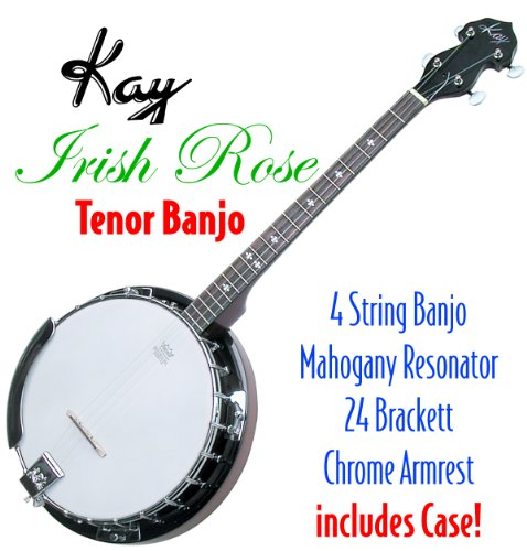 Kay KBJ40 W/C Tenor 4 String Irish Rose Banjo with Hardshell Wood Case (Banjo Tenor Learn Play)