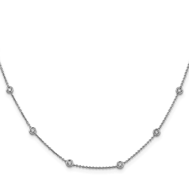 "0.55ctw. 14k White Gold Diamond Rolo Anklet - 9"""