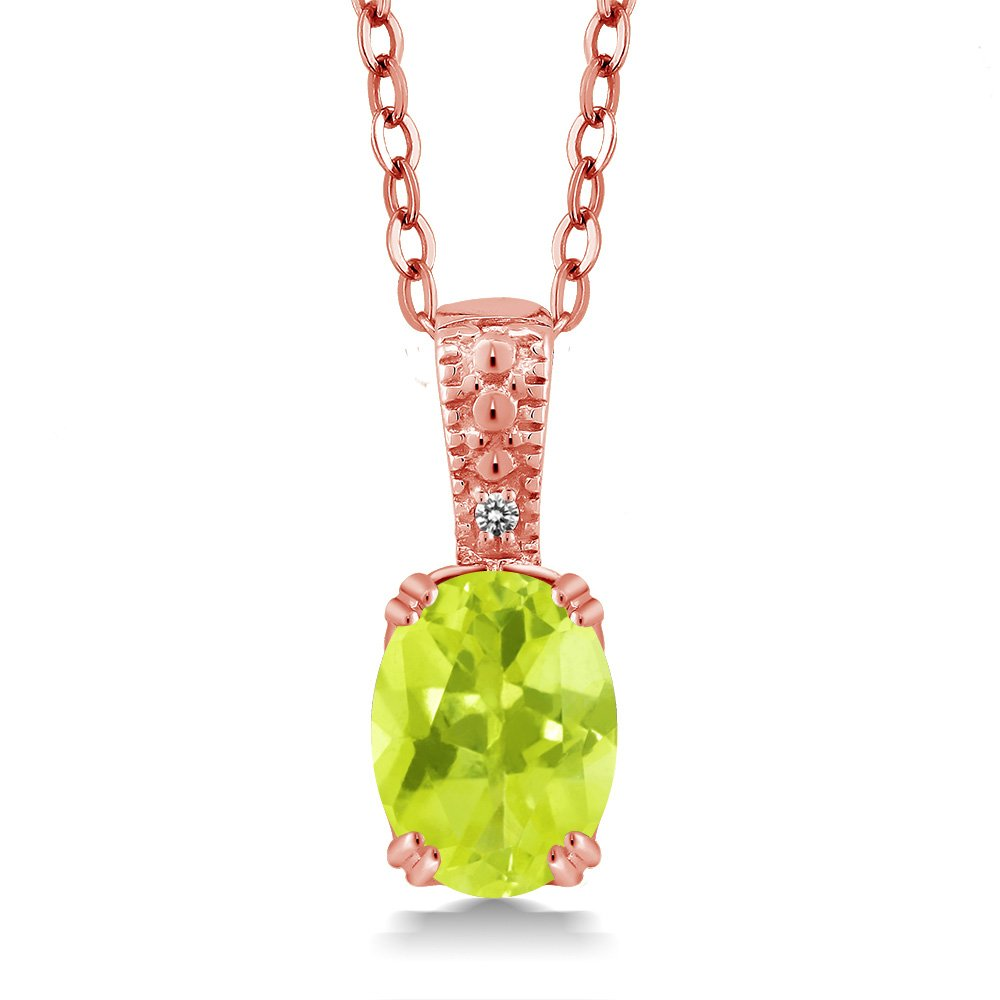 Yellow Lemon Quartz & White Diamond 18K pink gold Plated Silver Pendant (1.11 cttw, with 18  Chain)