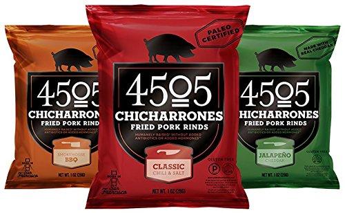 4505 Chicharrones (Fried Pork Rinds) Variety Bundle - 3 Items: Classic Chile & Salt, 1oz, Jalapeno Cheddar, 1oz, Smokehouse BBQ, 1oz (Trial Bundle)