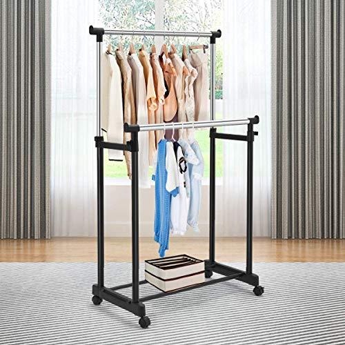 "Tangkula Rolling Garment Rack, Double Rail Heavy Duty Height Adjustable Clothes Rack Portable Garment Rack with Wheels (34""x17""x66""(L x W x H))"