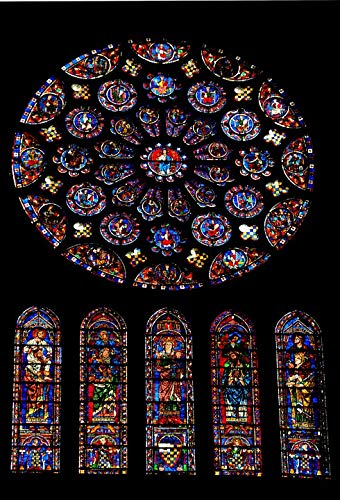 Home Comforts Canvas Print Stained Glass Chartres Cathedral Rosette Vivid Imagery Stretched Canvas 32 x 24