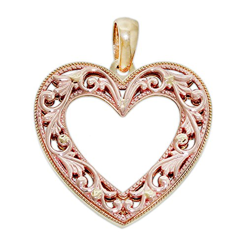 Gold Heart Filigree Charm (Charm America Gold Filigree Heart Charm - 14 Karat Solid Yellow & Rose Gold)