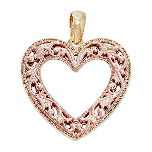 Filigree Gold Heart Charm (Charm America Gold Filigree Heart Charm - 14 Karat Solid Yellow & Rose Gold)