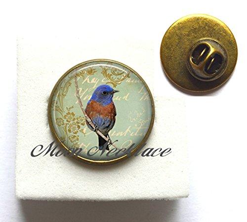 Charm Brooch,Bluebird Collage Pin. bluebird Brooch bird lover gift bluebird jewellery bluebird jewelry bluebird,Fashion jewelry,for her birthday,photo Jewelry Glass Pin Jewelry-ZE090