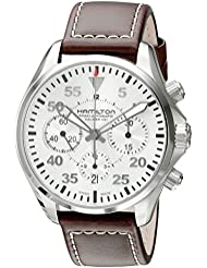 Hamilton Mens H64666555 Khaki Aviation Stainless Steel Automatic Watch with Brown Leather Band