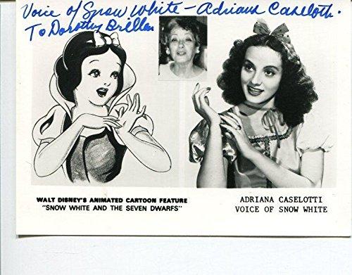 Adriana Caselotti Disney Voice Of Snow White Rare Signed Autograph