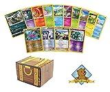 50 Assorted Pokemon Cards 4 Reverse Foils! Includes Golden Groundhog Treasure Chest Box!