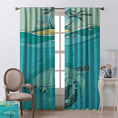 youpinnong Ocean, Curtains Unique, Sea Turtle Swimming Coral Reef Exotic Island Underwater Life Illustration, Curtains Living Room, W72 x L84 Inch, Turquoise Teal Green