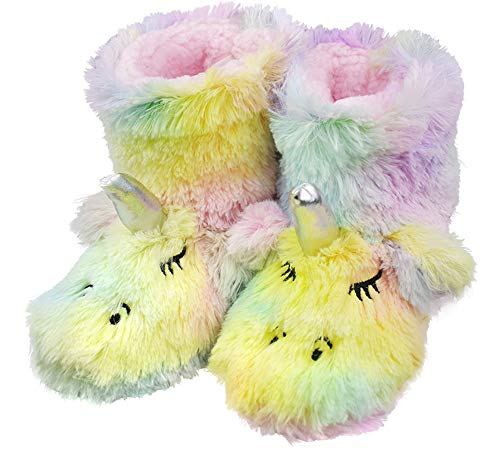 (Girls Little Child Comfy Fleece Plush Indoor Slippers Cute Rainbow Unicorn Warm Cute Monster Booties Size 10-11 US)