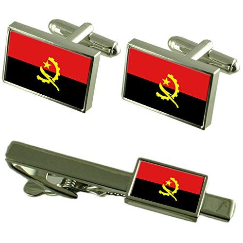 Cravate boutons de manchette Drapeau Angola un Ensemble cadeau correspondant
