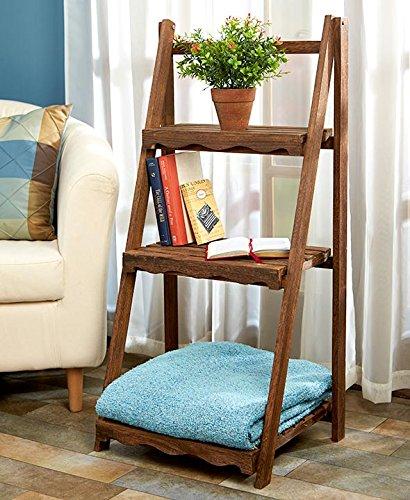 Wood Shelf Display Shabby Chic Cottage Ladder Shelving Unit (walnut) (Cream Ladder Shelf)