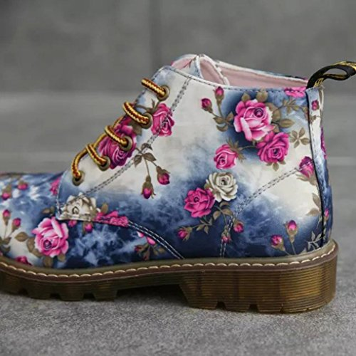 Suede Printed Boots Martin Faux Womens Boots Flat Ankle Blue Winter Shoes Floral Inkach Shoes Riding wAxq0Xx