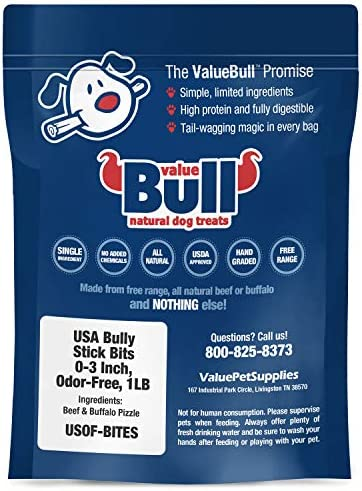 ValueBull USA Bully Stick Bits Dog Treats, 0-3 Inch, Odor-Free, 1 Pound
