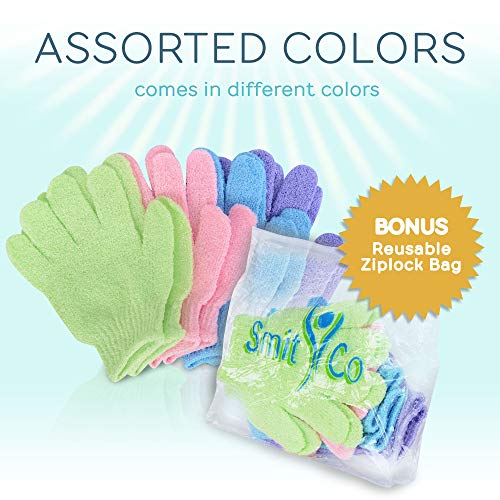 SmitCo LLC Exfoliating Gloves - 4 Pairs Full Body Scrub - Shower or Bath Spa Exfoliation Accessories For Men and Women - Scrubs Away Dead Cells For Soft Skin and Improves Blood Circulation by SMITCO (Image #5)