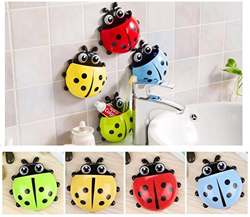 BlueSunshine 4 Pcs Creative Cute Cartoon Ladybug Kids Wall Suction Cup Mount Toothbrush Toothpaste Holder Pencil Pen Container Box Travel Organizer Plastic Pocket Storage Organizer