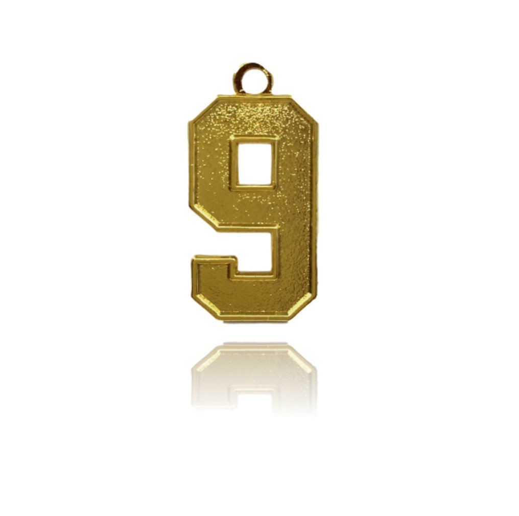 Number 9 Jersey Style Sports Necklace Charm Pendant (0.8'' Tall - Standard Size) GOLD PLATED Perfect For: Football, Baseball, Basketball, Soccer, Hockey, Softball, Volleyball, Lacrosse & More