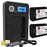 DOT-01 2X Brand 1300 mAh Replacement Sony NP-FH50 Batteries and Smart LCD Display Charger for Sony A330 Digital SLR Camera and Sony FH50 Accessory Bundle