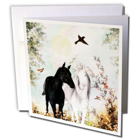 Price comparison product image 3dRose Unicorn Love, Unicorns In A Garden - Greeting Cards, 6 x 6 inches, set of 6 (gc_49003_1)