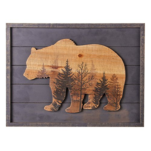 Cabin Wall Art - NIKKY HOME Cute Bear in The Forest Decorative Wood Framed Wall Art Prints Cabin Decor, 16