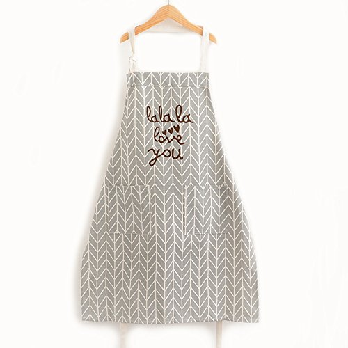 Personalized Kitchen Aprons (Halova Kitchen Cooking Apron with Pockets Fashion Universal for Women Men Girls, 100% cotton and linen, Anti-oil, Gray)