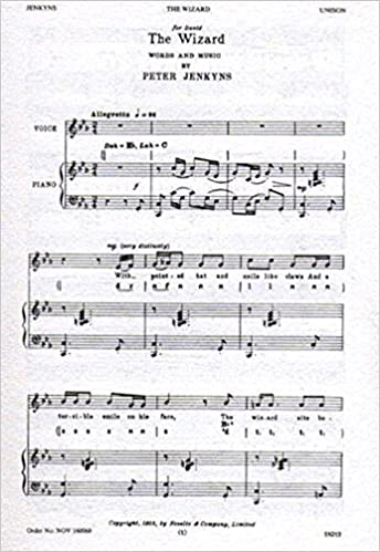 The Wizard. [Unison song.] Words and music P. Jenkyns. [Staff and tonic solfa notation.] (School Songs. 1964)
