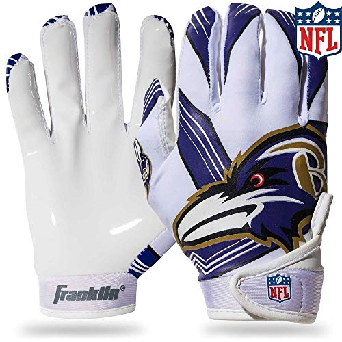 Baltimore Ravens Gloves - Franklin Sports NFL Baltimore Ravens Youth Football Receiver Gloves - Medium/Large
