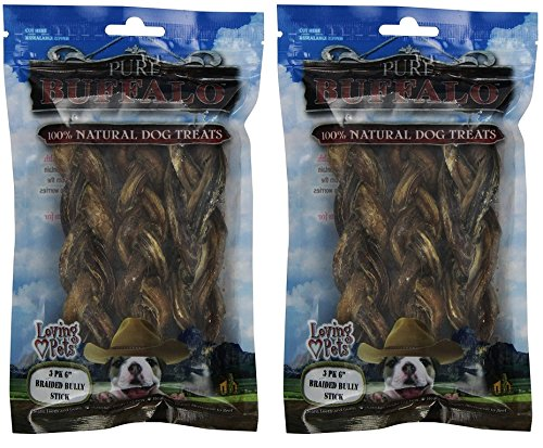 Loving Pets Pure Buffalo 6-Inch Braided Bully Stick (2 Pack) Pet Buffalo Jerky