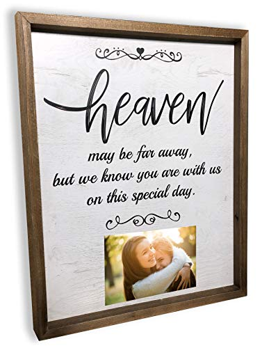 Memorial Table At Wedding (Brookfield Products Heaven Wedding Sign to Honor Those no Longer with us with Personal Photos. Beautiful Decoration displays on a Bridal Table or Chair at Any Wedding Ceremony or)