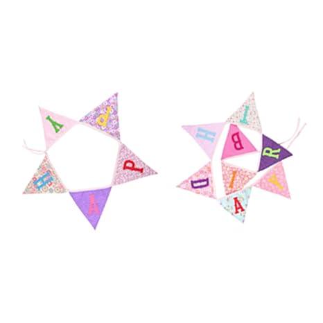 LOVIVER Banderín de Feliz de Cumpleaños de Tela - Rosado ...