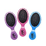 Wet Brush Multi-Pack Squirt Detangler Hair Brush with Soft IntelliFlex Bristles, Mini Travel Detangler - Pack of 3 (Pink, Purple, Blue)