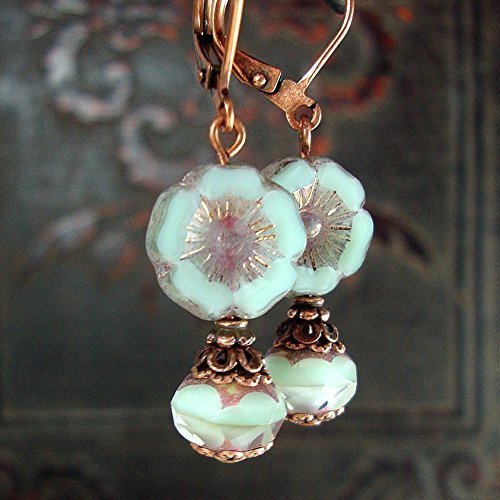 Mint and Lavender Czech Glass Flower Lever Back Earrings in Antique Copper
