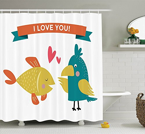 [Animals Decor Collection Fish and Parrot Conflicting Feelings Animal Caring Each Other Design Polyester Fabric Bathroom Shower Curtain Teal Mustard Orange] (Parrot Costume Ebay)