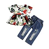 Toddler Baby Girls Flower Clothes Ruffle Dress Tops + Ripped Hole Denim Leggings Long Jeans Pant Summer Outfits Set (2-3T, Floral)