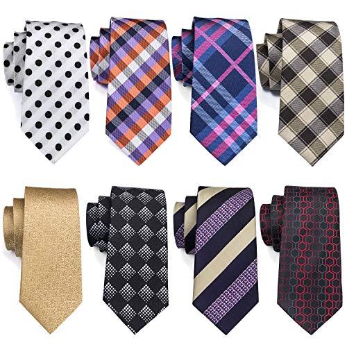 Barry.Wang Mens Tie Set Plaid Stripe Solid Tie Lot Woven Silk Necktie 8 Pack