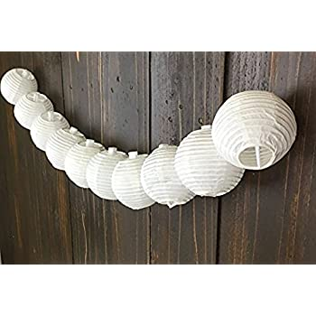 """Just Artifacts 3"""" White Chinese Japanese Mini Paper Lanterns (3inch, White, Set of 10) - Hanging Decorations for Weddings, Parties & Home Decor"""