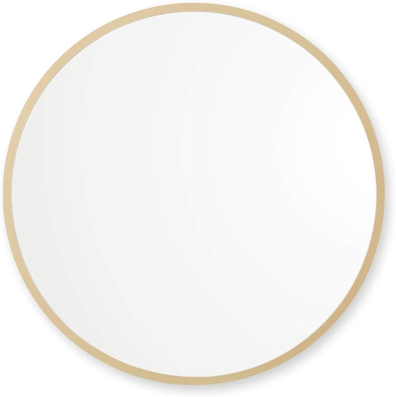 "Better Bevel 24"" x 24"" Matte Gold Rubber Framed Mirror | Round Bathroom Wall Mirror"