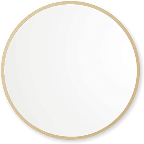 Better Bevel 36 x 36 Matte Gold Rubber Framed Round Mirror