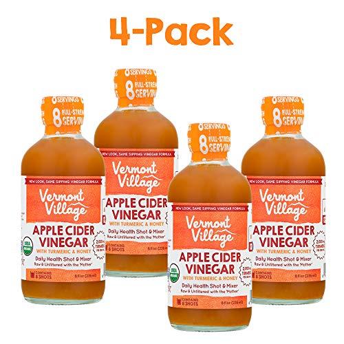 Vermont Village Organic Apple Cider Sipping Vinegar (Turmeric & Honey), Pack of 4