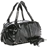AMRIT Oversized Gothic Skull Head Studs Top Double Handle Bowling Style Handbag Shopper Hobo Tote Satchel Shoulder Bag Purse