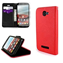 CoverON® for Alcatel One Touch Fierce 2 / Pop Icon Wallet Case [CarryAll Series] Flip Credit Card Phone Cover Pouch with Screen Protector and Wristlet Strap - Red/black
