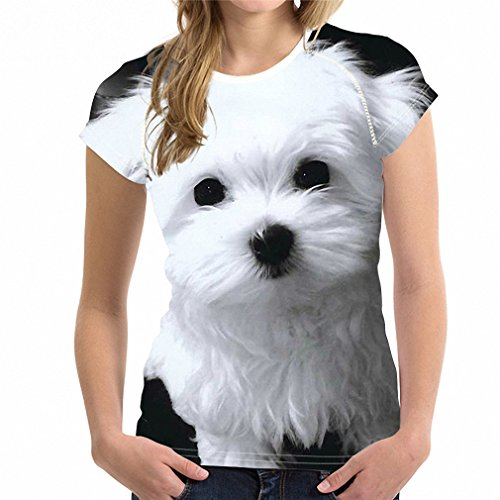 Hiuwa Womens 3D Maltese Dog Print Short Sleeve Breathable Tshirt Tops Tee L