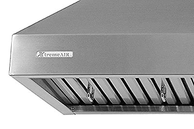 XtremeAir PX03 Wall Mount Range Hood with 900 CFM Baffle Filters with Grease Drain Tunnel