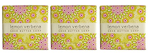Greenwich Bay Cleansing Spa Soap, Shea Butter, and Cocoa Butter. Blended with Loofah and Apricot Seed, No Parabens, No Sulfates 6.35 Ounce (3 Pack) (Lemon Verbena)