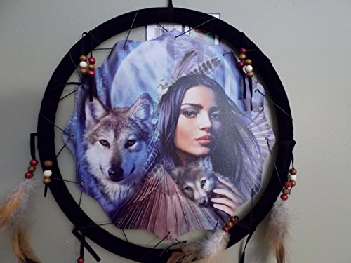 """NEW INDIAN GIRL HOLDING WOLF PUP DREAM CATCHER MANDALA FEATHERS & BEADS 13"""" X 28"""""""