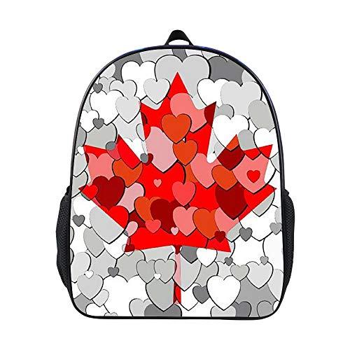 SARA NELL Kids Backpack Canada Flag Made Of Hearts Kindergarten Boys Girls School Backpack Bag