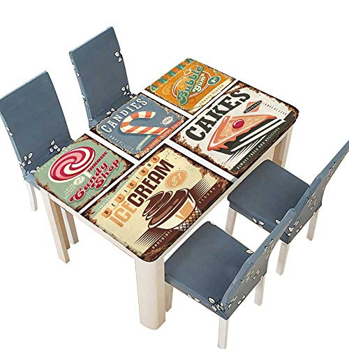 PINAFORE Polyester Cloth Fabric Cover Vintage Candy Shop Collection of tin Signs Decorative Tablecloths for Kitchen Room W25.5 x L65 INCH (Elastic Edge)