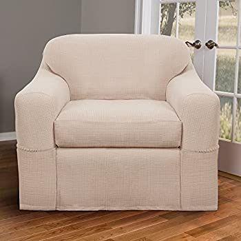 Maytex Stretch Reeves 2 Piece Slipcover Chair, Natural