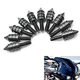 Motorcycle Spike Windshield Bolts Screw Nut For Honda Ducati Suzuki Kawasaki Yamaha Triumph (Black)